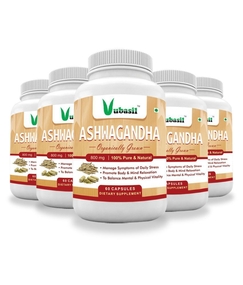 VUBASIL Herbal Ashwagandha for General Wellness Capsule 300 no.s Pack Of 5
