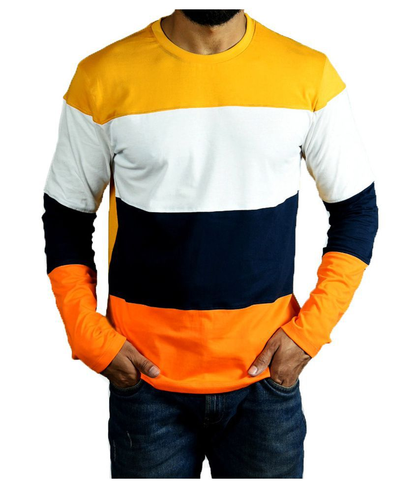 ESPARTO 100 Percent Cotton Multi Color Block T-Shirt