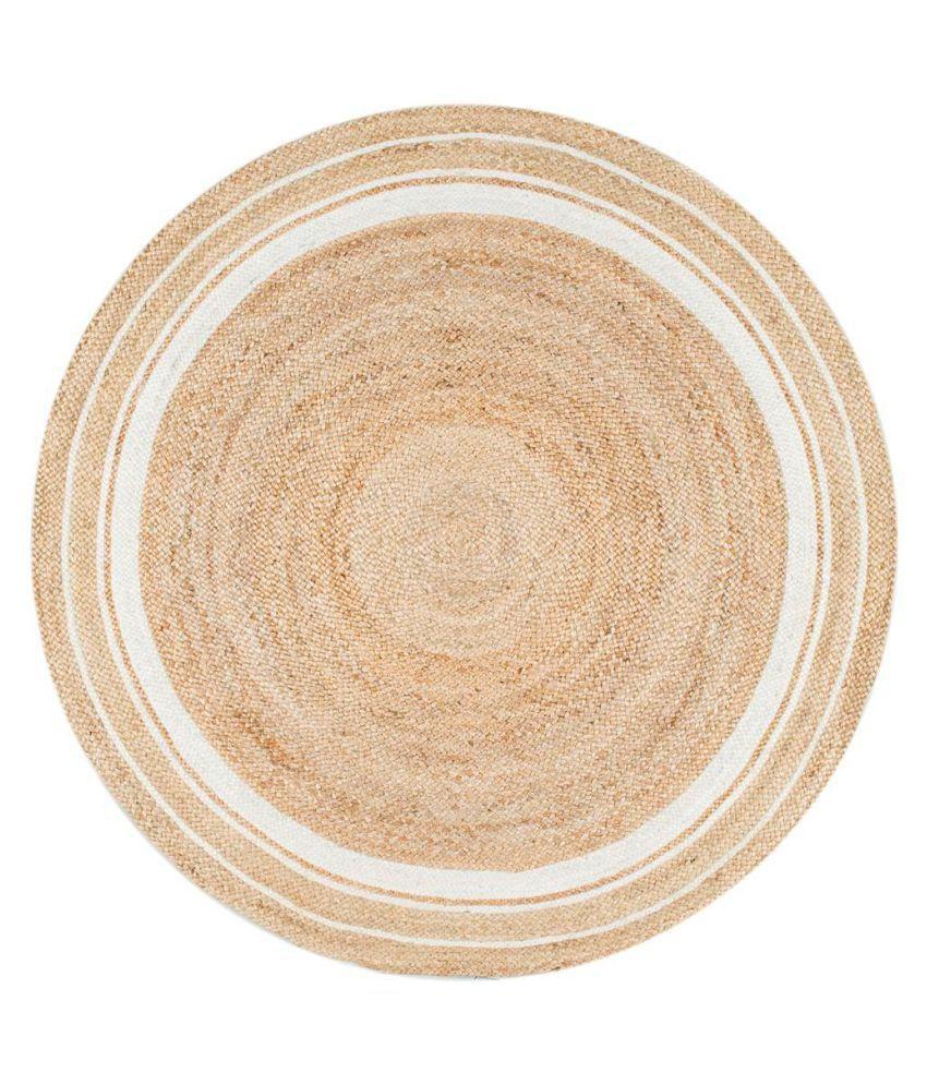 PRINTSHOPPI White Jute Carpet Natural Other Sizes Ft
