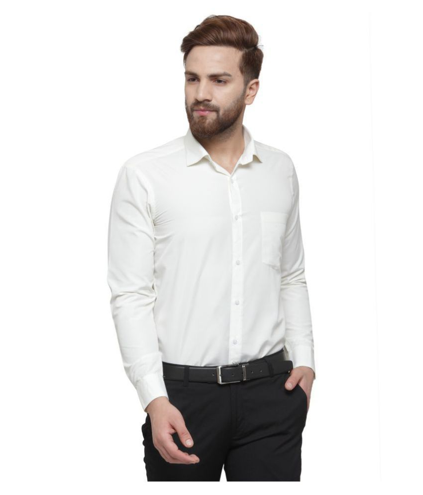 RG Designers Cotton Blend Off-White Solids Formal Shirt