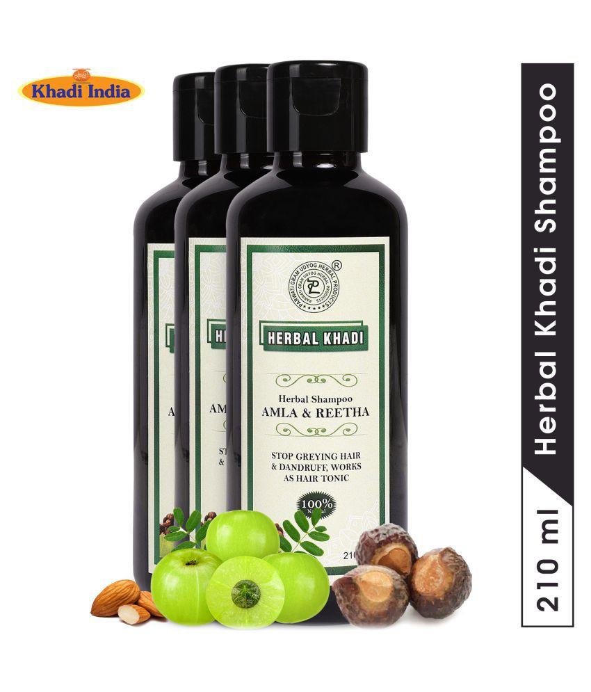 Herbal Khadi Amla Reetha Hair fall Control Cleansing Shampoo 630 mL Pack of 3