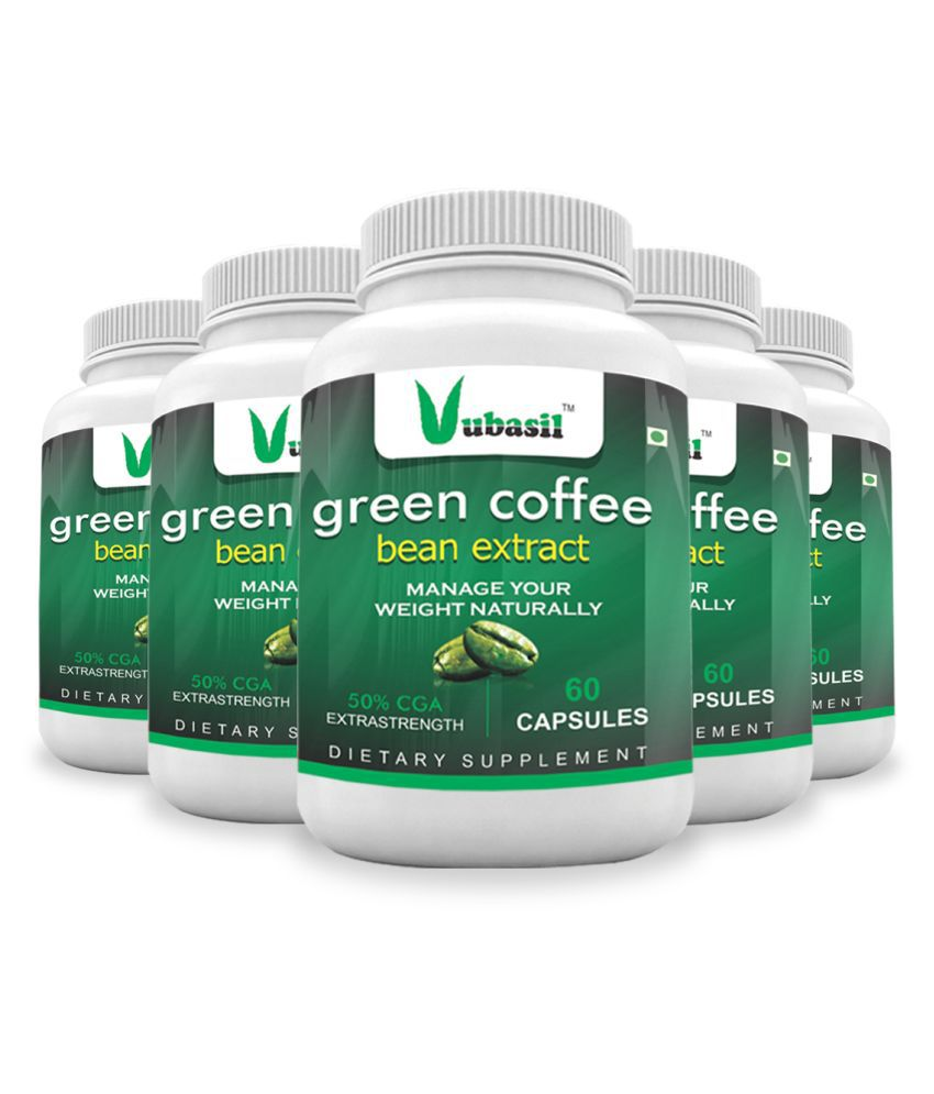 VUBASIL Herbal Green Coffee Extract Weight Loss Capsule 300 no.s Pack Of 5