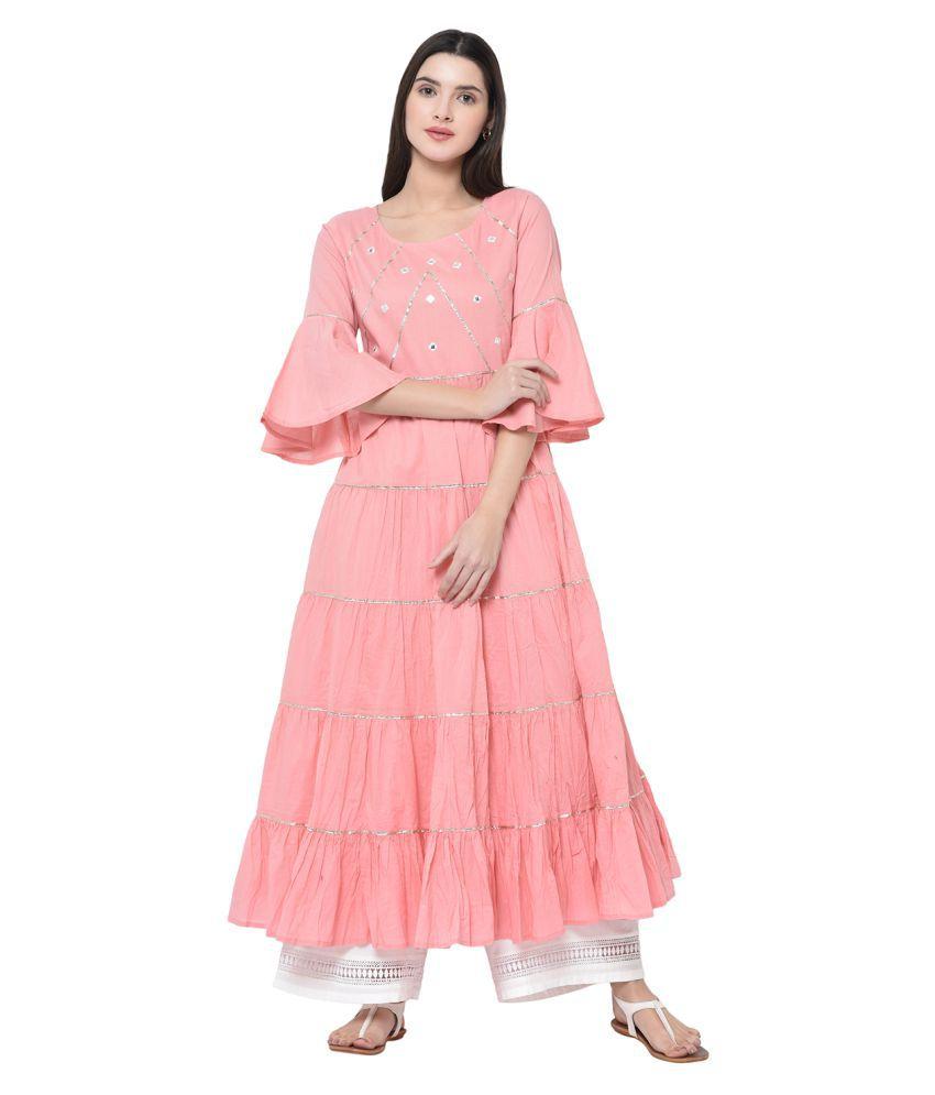 2Bme Cotton Pink A- line Dress