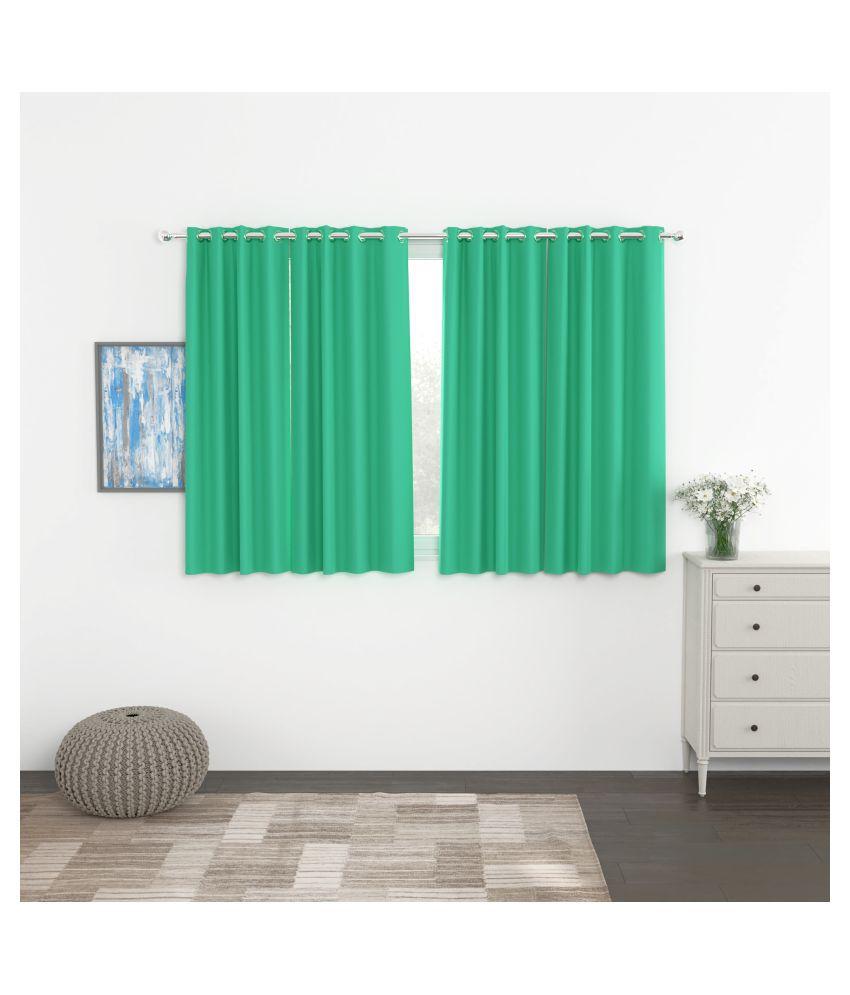 Story@Home Set of 4 Window Blackout Room Darkening Eyelet Silk Curtains Turquoise