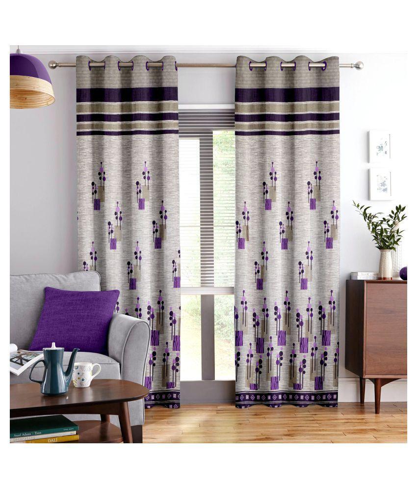 Story@Home Single Door Blackout Room Darkening Eyelet Jute Curtains Purple