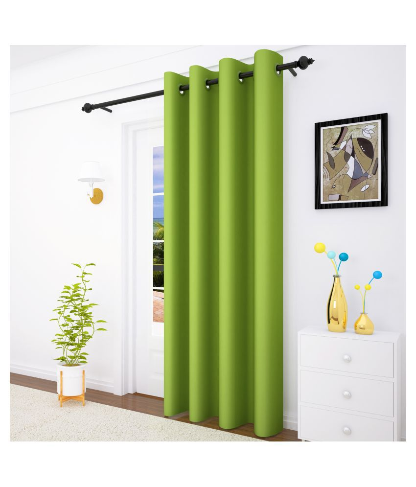 Story@Home Single Door Blackout Room Darkening Eyelet Silk Curtains Green