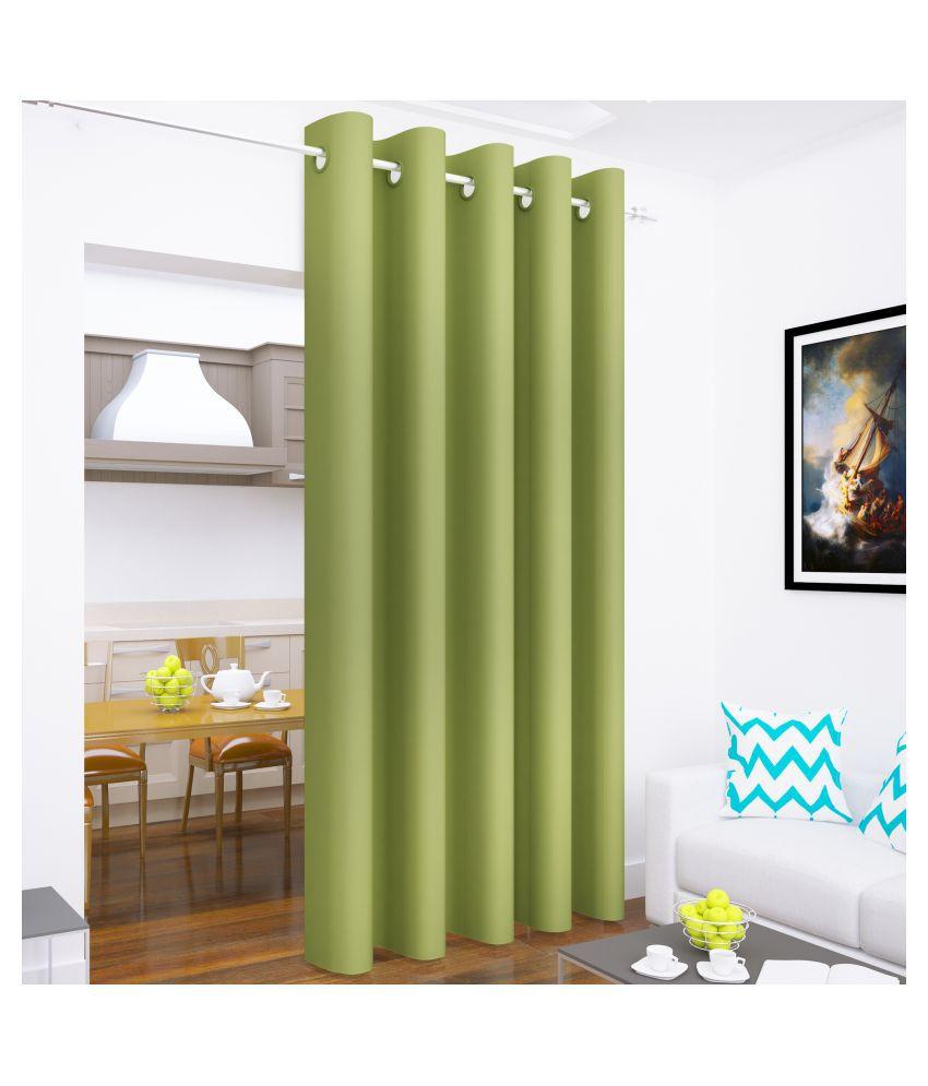 Story@Home Single Long Door Blackout Room Darkening Eyelet Silk Curtains Green