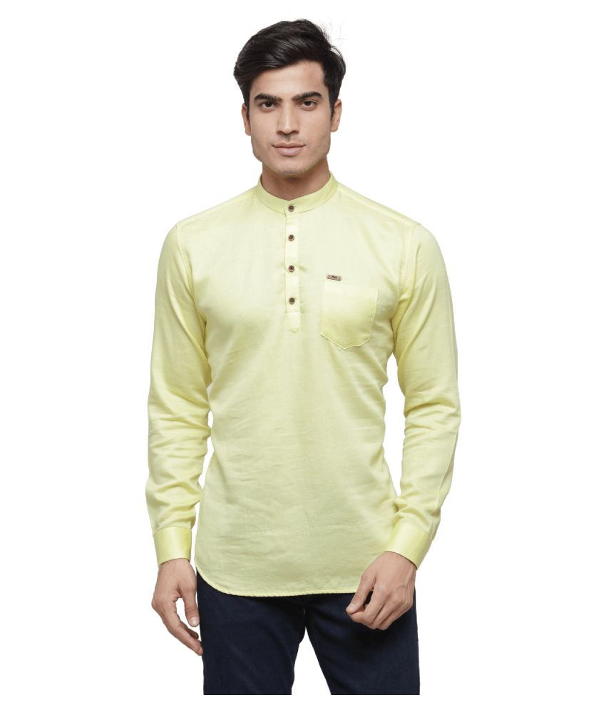 RG Designers Yellow Cotton Kurta Single