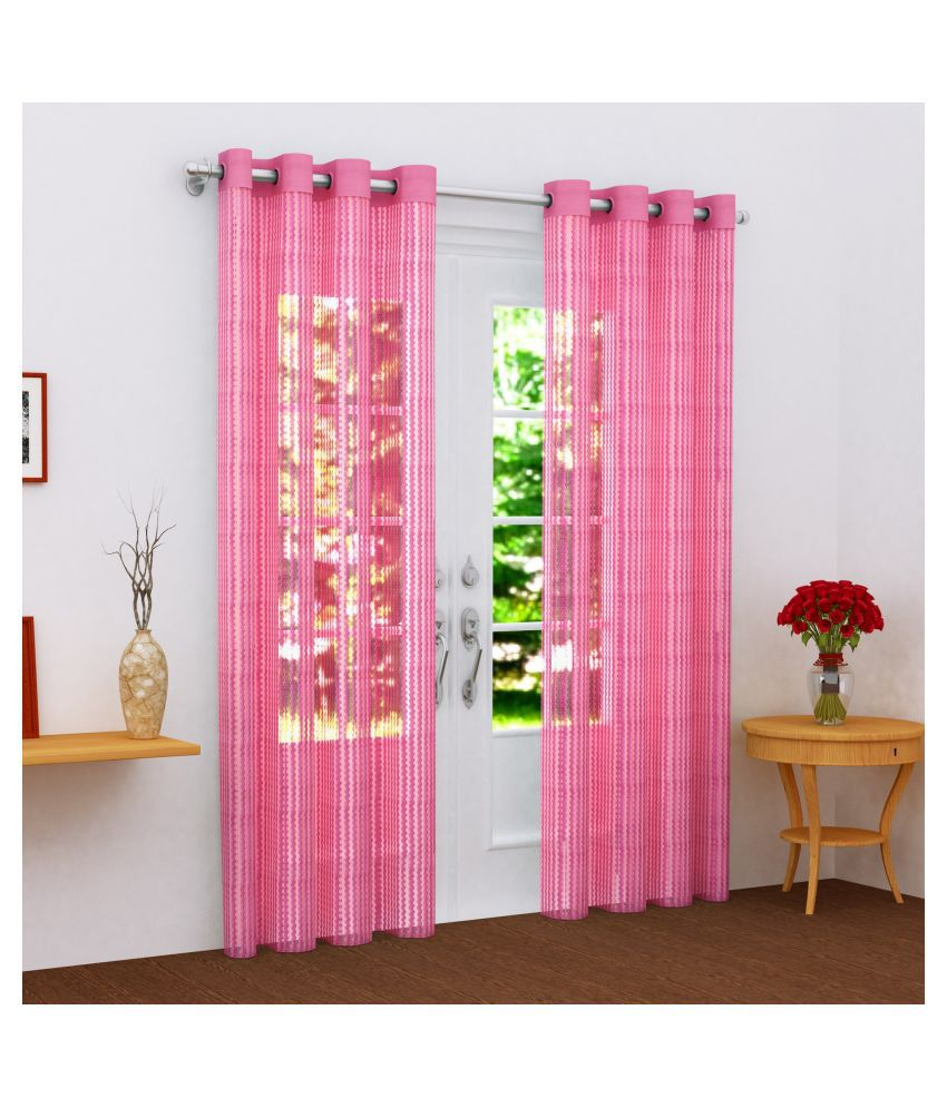 Story@Home Set of 2 Door Semi-Transparent Eyelet Polyester Curtains Pink