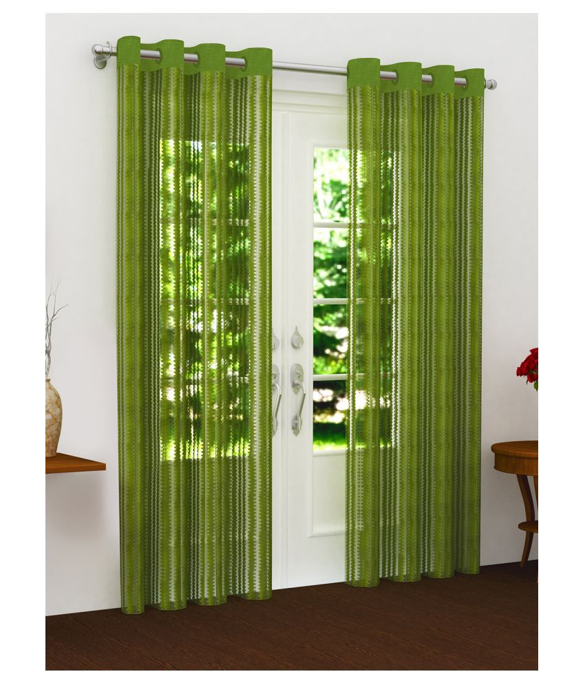 Story@Home Set of 2 Door Semi-Transparent Eyelet Polyester Curtains Green