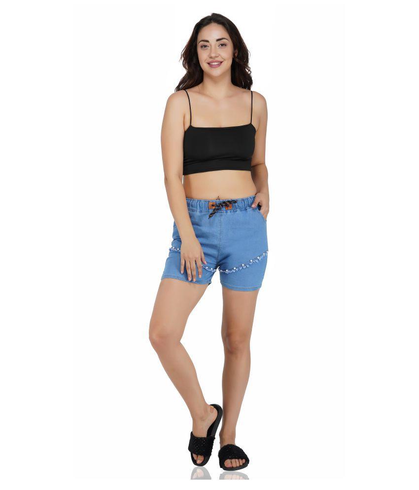 FineCreations Neon Blue Cotton Blend Solid Shorts