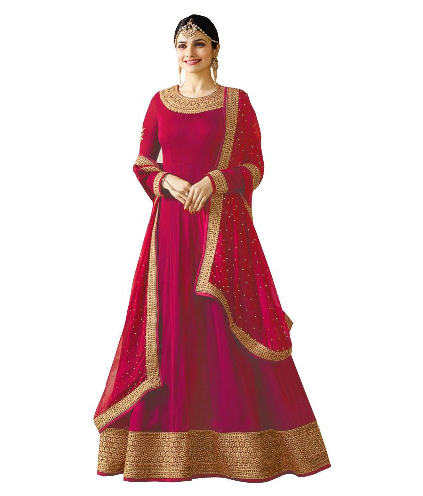 P.K FASHION BAZAR Pink Georgette Gown