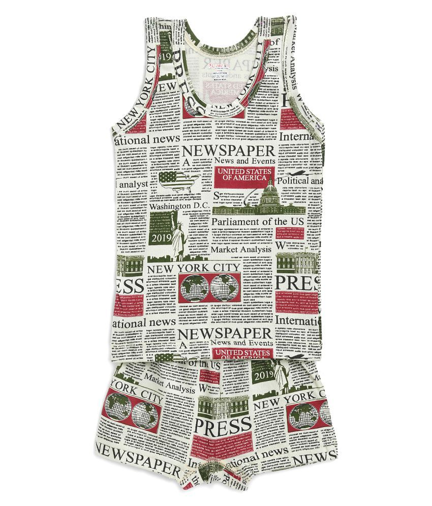 Care in Printed Round Neck Cotton Grey Color Sando Vest and Short Set for Boys and Kids