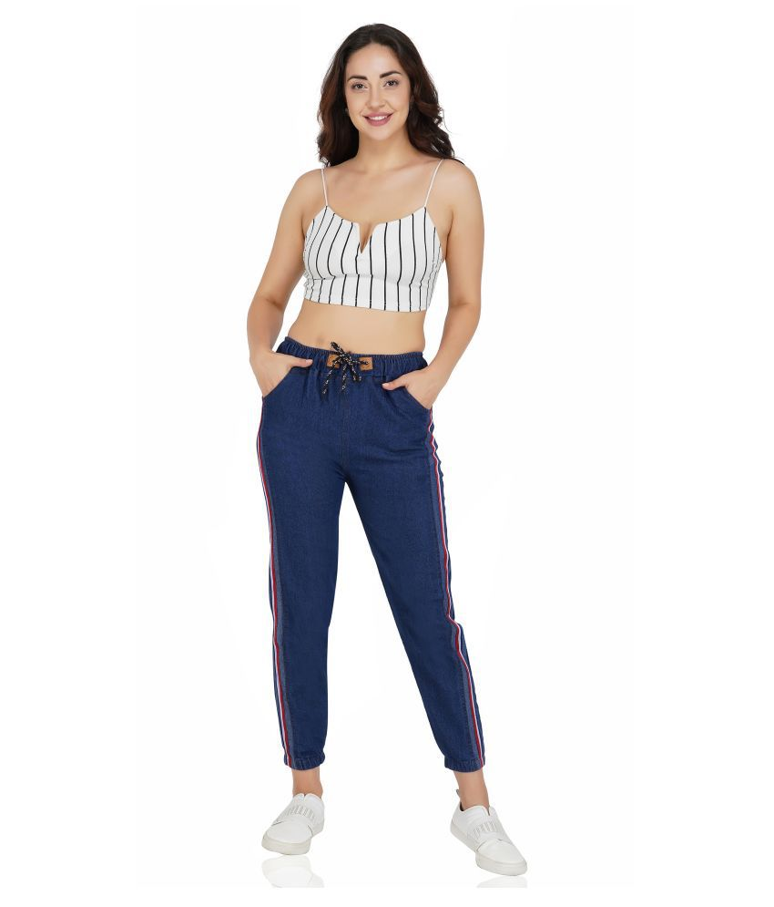 FineCreations Navy Cotton Blend Trackpants