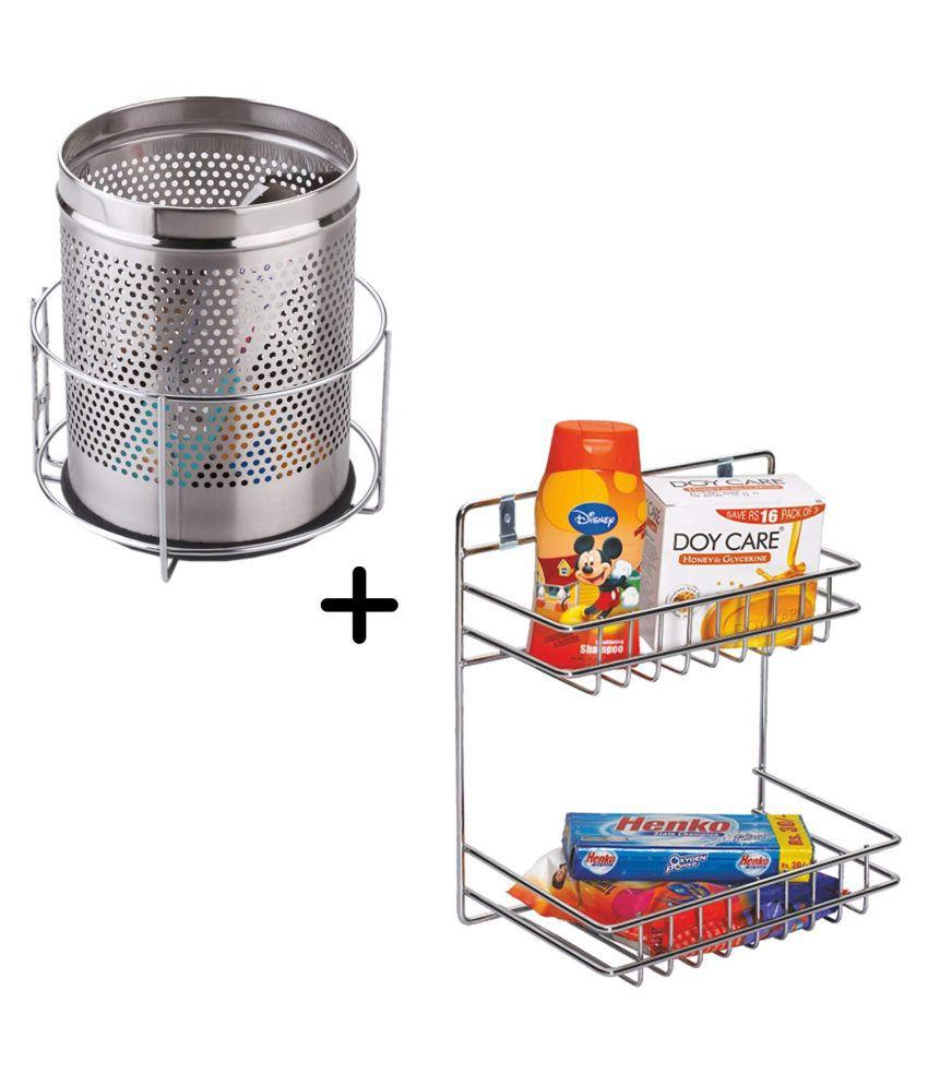 Jebel Stainless Steel Detergent and Bin Holder (Silver)