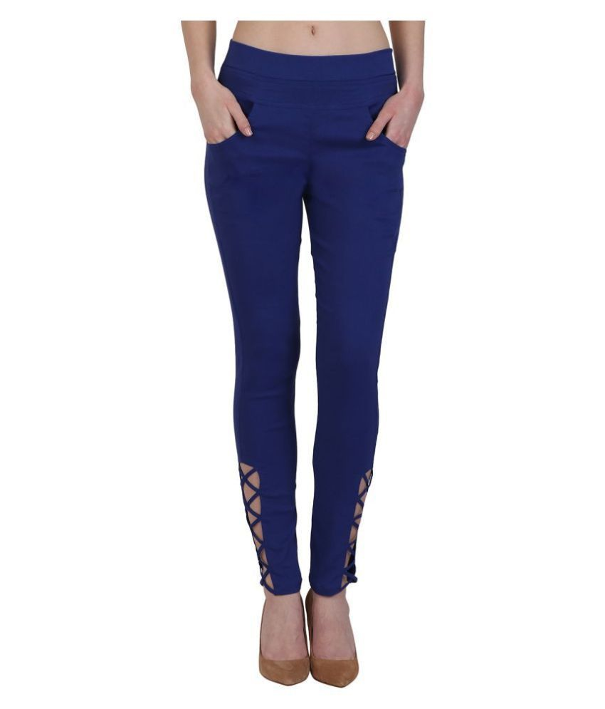 Kalakaari Cotton Lycra Jeggings - Blue
