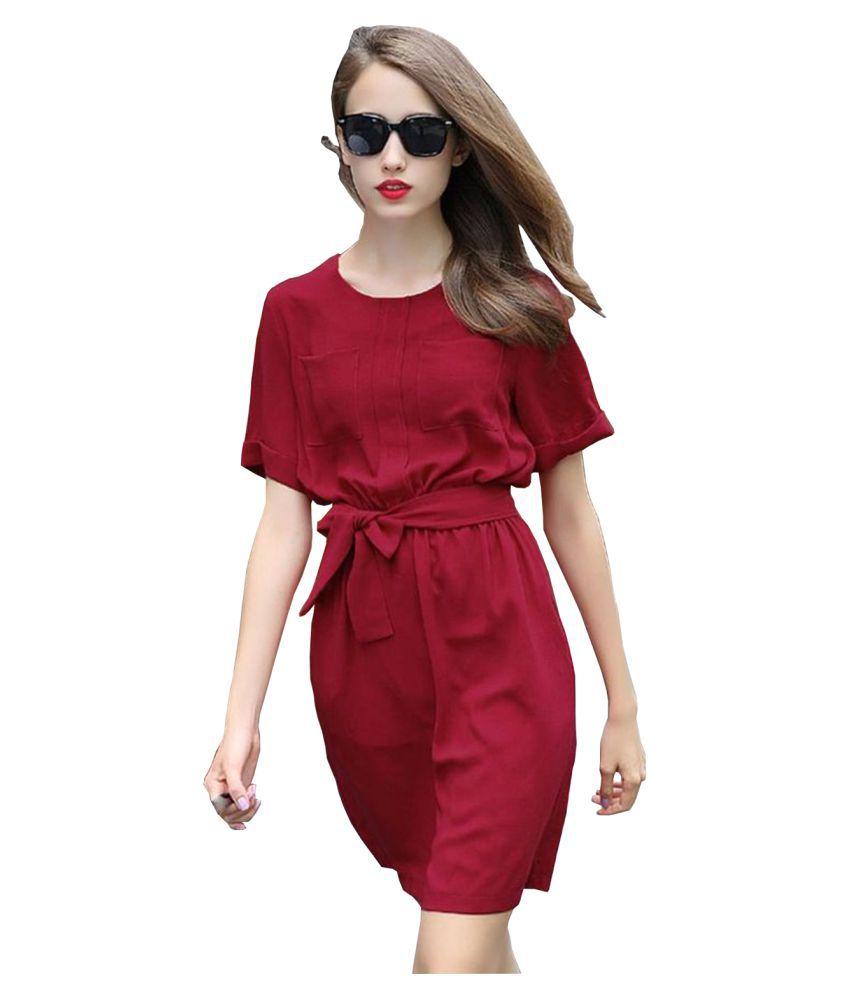 Ritsila Cotton Maroon A- line Dress