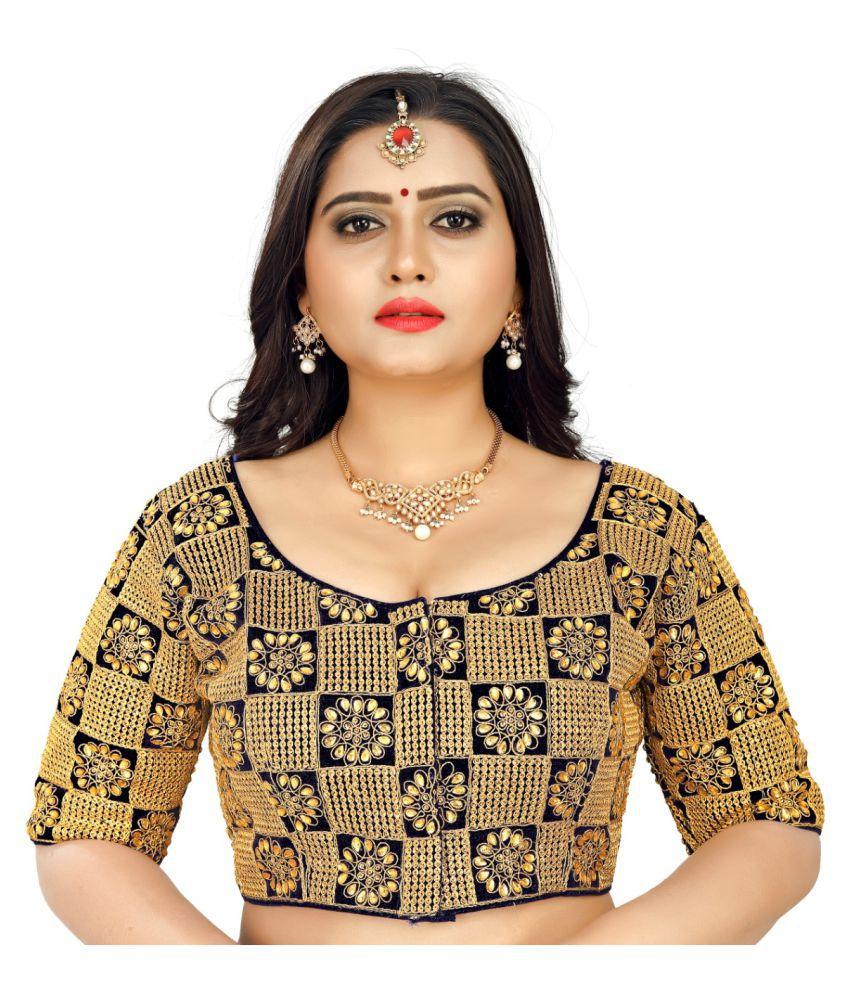 Women Blouse Black Silk Semi Stitched Blouse
