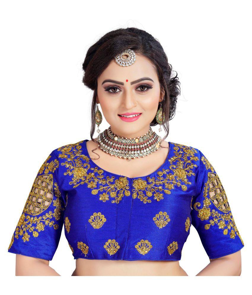 Women Blouse Blue Silk Semi Stitched Blouse