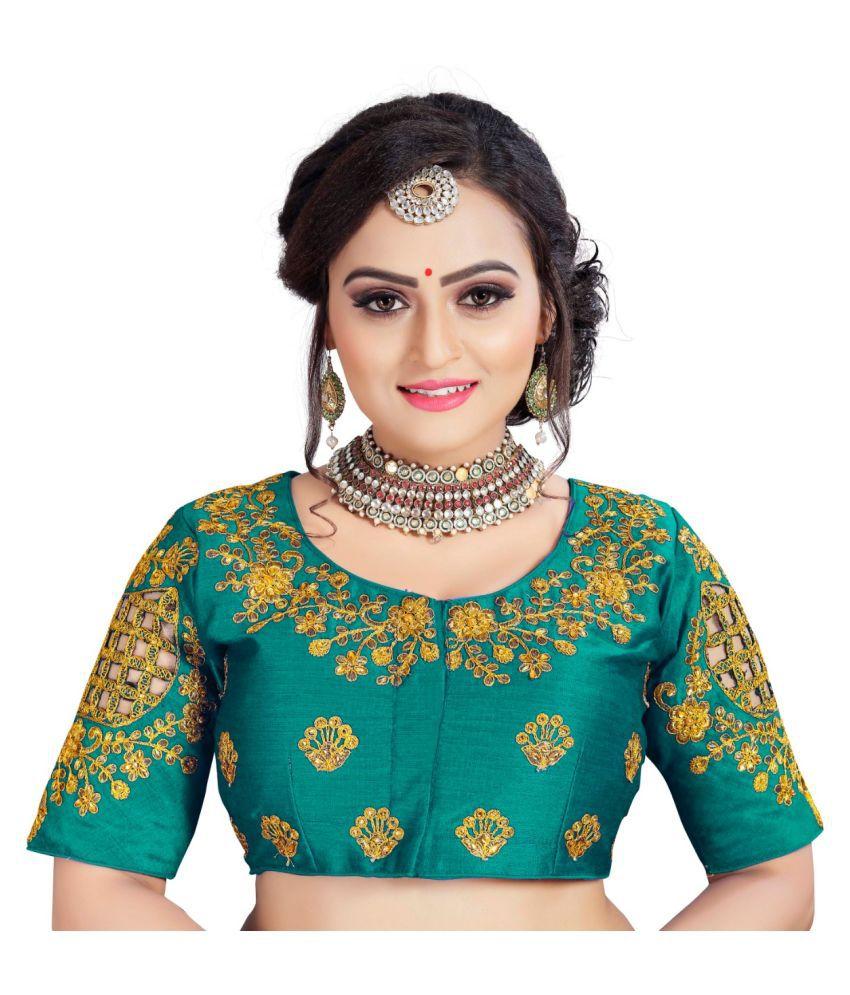 Women Blouse Turquoise Silk Semi Stitched Blouse