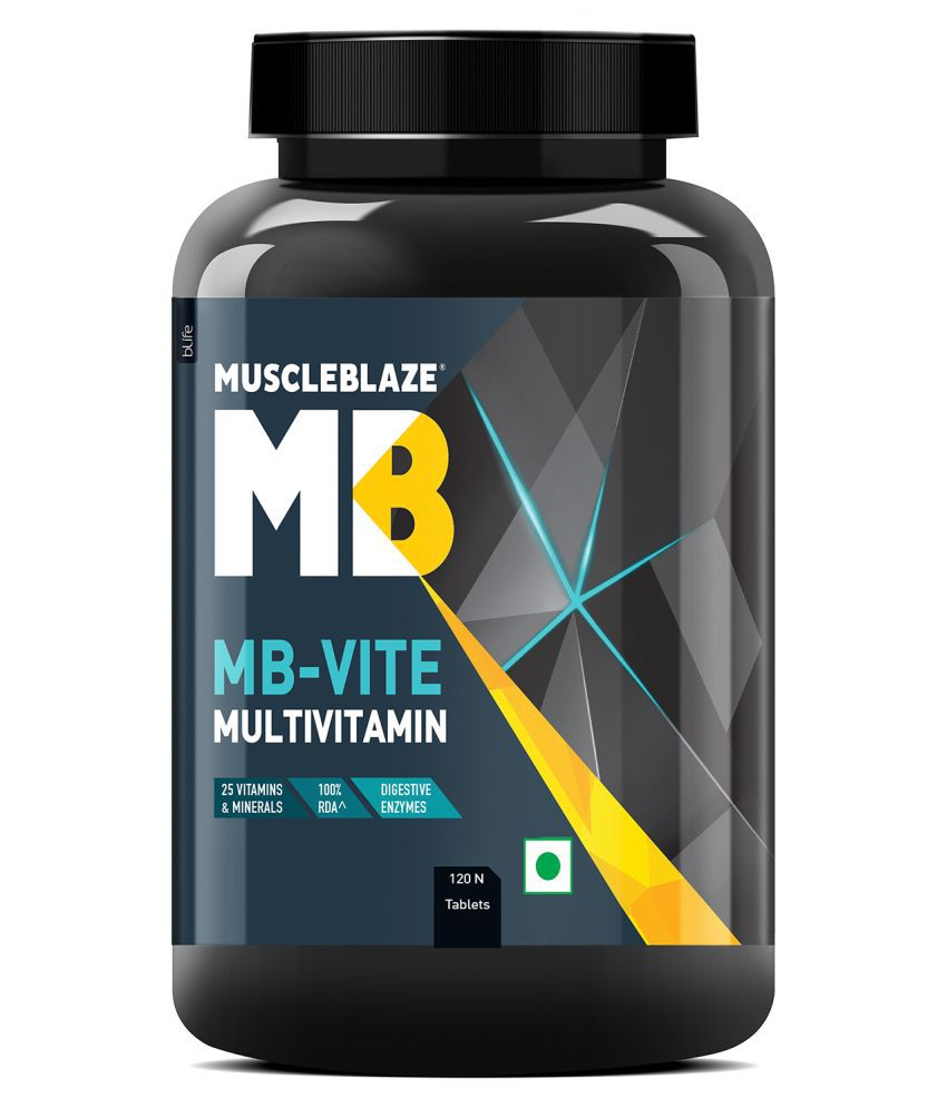 MuscleBlaze MB-Vite Multivitamin with Immunity Boosters and Digestive Enzymes, 100% RDA of Vitamin C, D, Zinc,120 Tablets