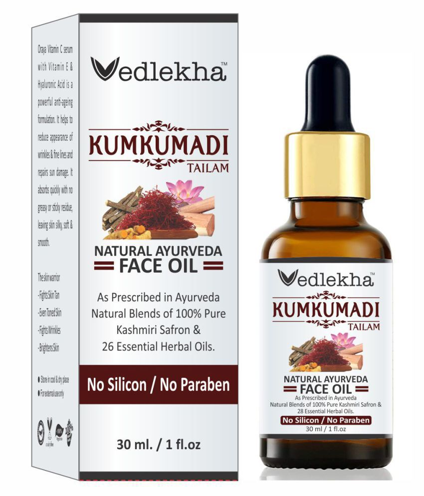 Vedlekha 100% Pure Kumkumadi Tailam For Radiant Skin For Brightens, Healthy & Glowing Skin Face Serum 30 mL