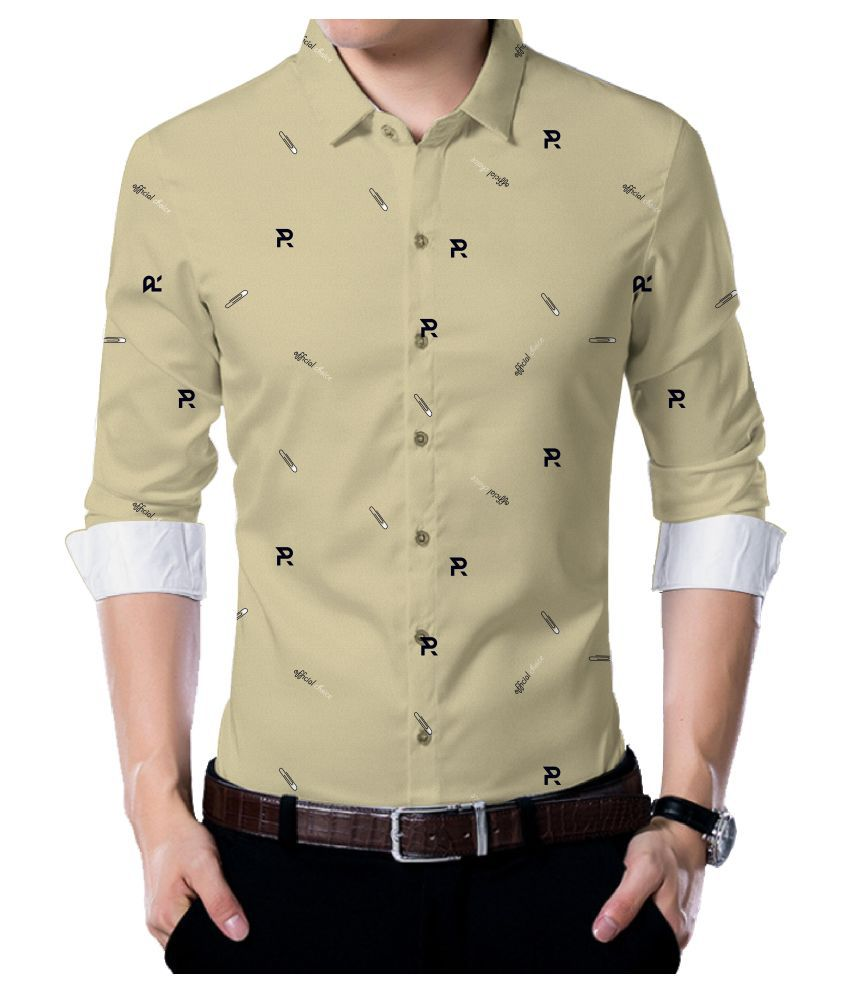Jm Beige Poly Blend Unstitched Shirt pc
