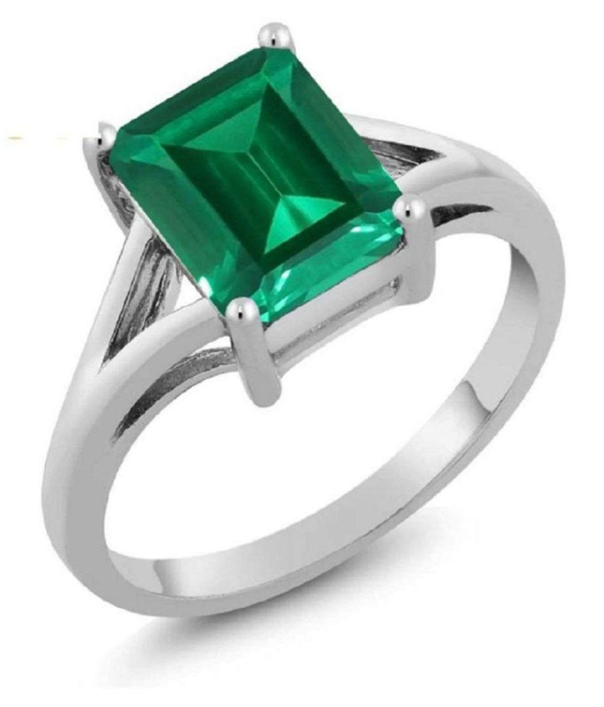 GOD JEWELRY 7.25 Ratti Emerald Silver Ring Original Natural Certified Green Emerald Ring Emerald Cut Faceted Gemstone Ring May Birthstone Zambian Columbia Panna Silver Plated Ring for Unisex