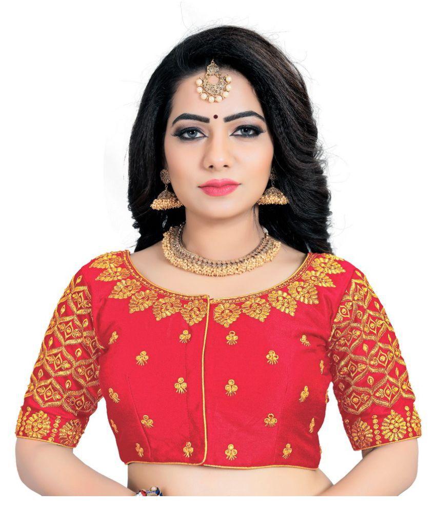 Women Blouse Peach Silk Semi Stitched Blouse