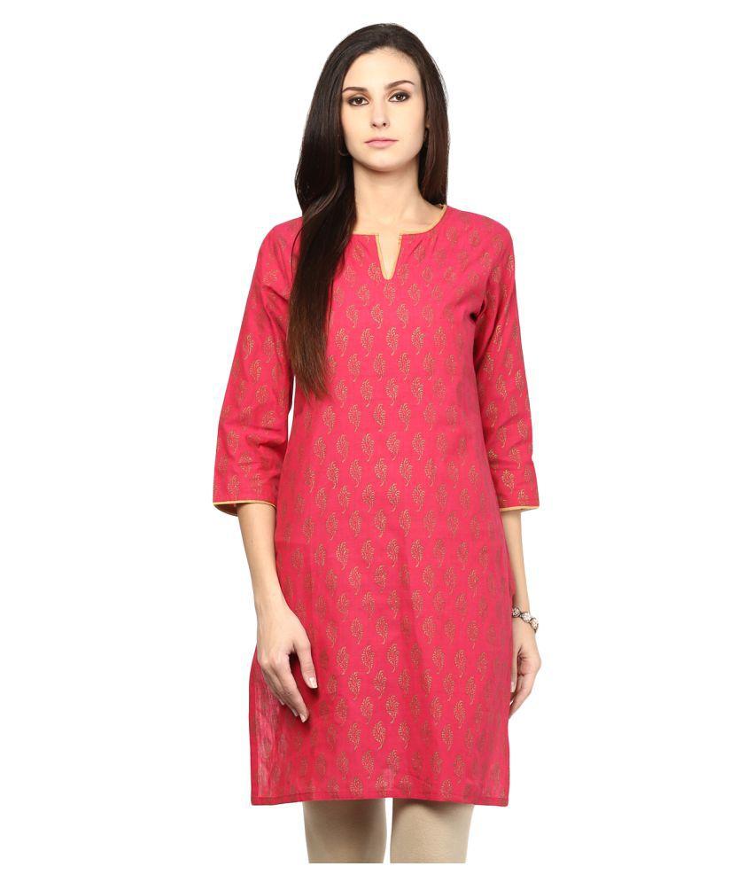 Nandhika Pink Cotton A-line Kurti