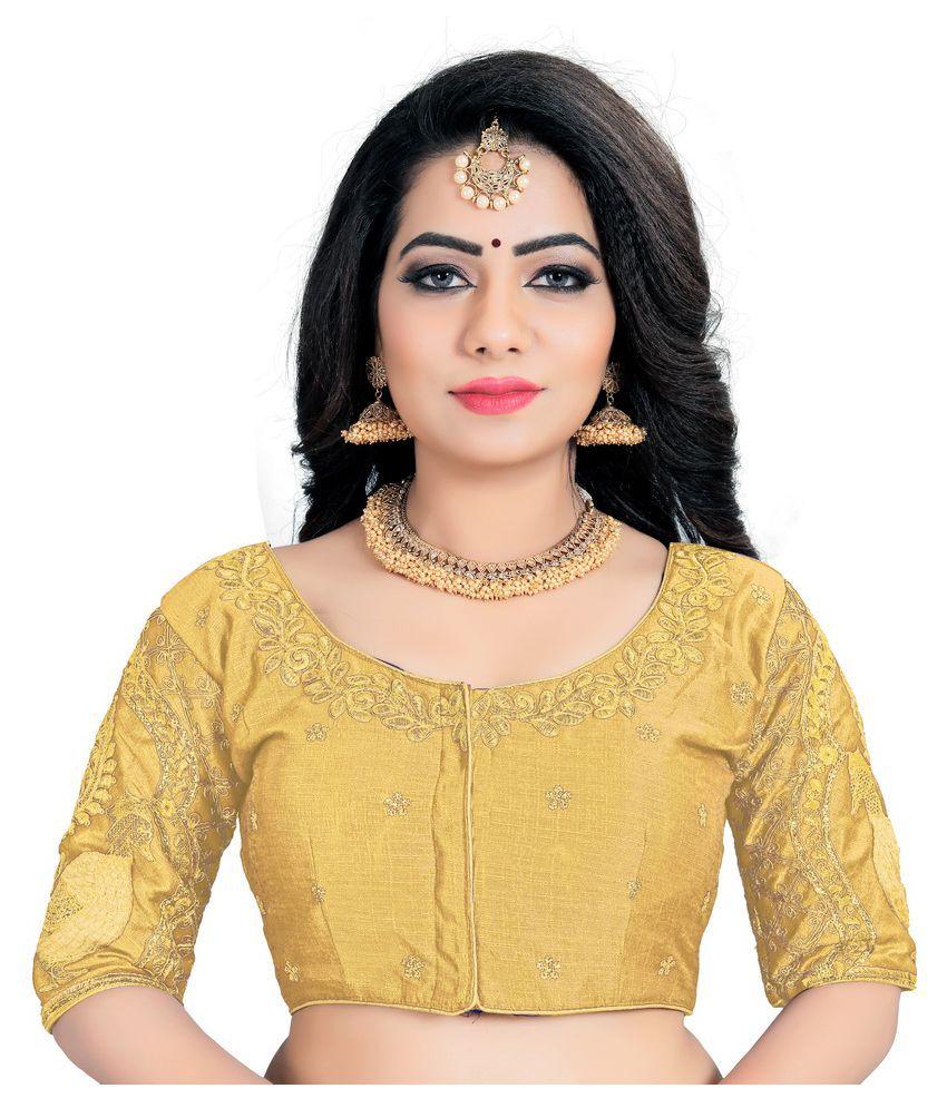 Women Blouse Gold Silk Semi Stitched Blouse