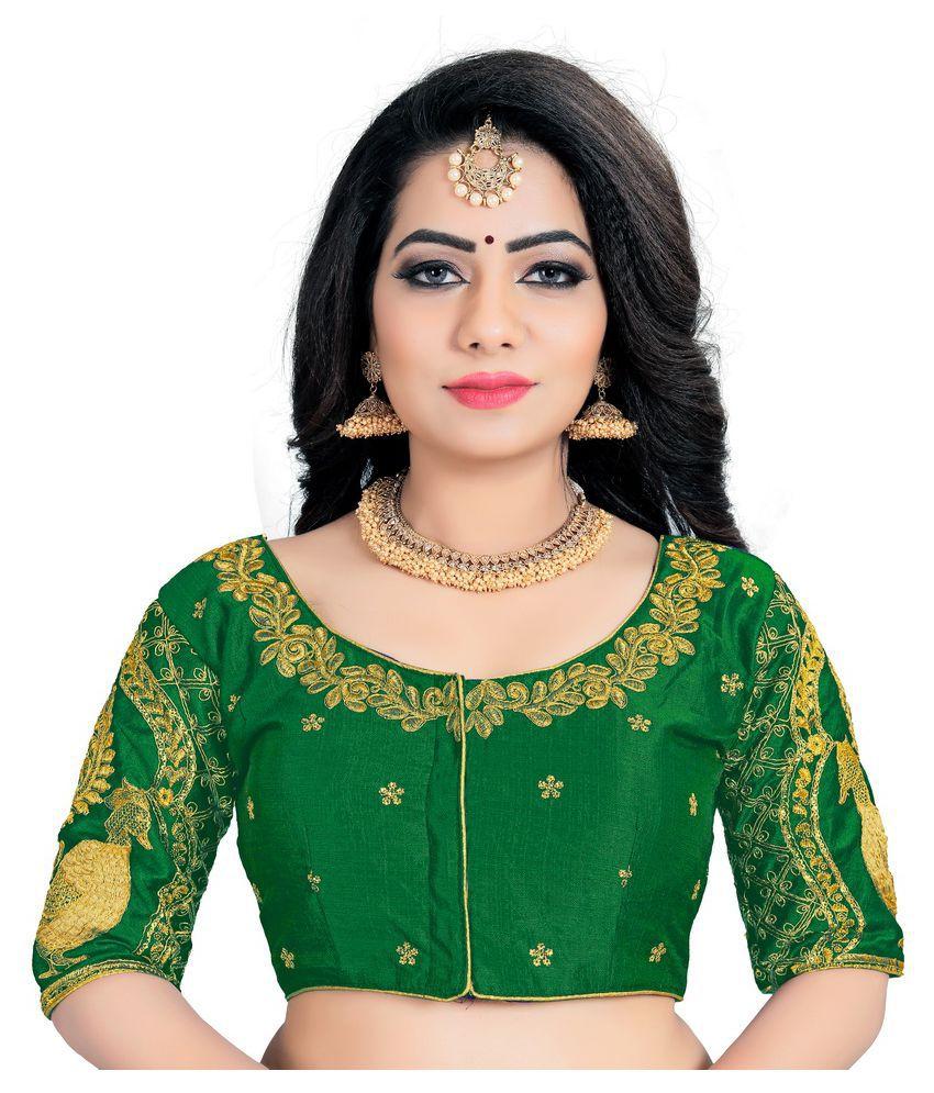 Women Blouse Green Silk Semi Stitched Blouse