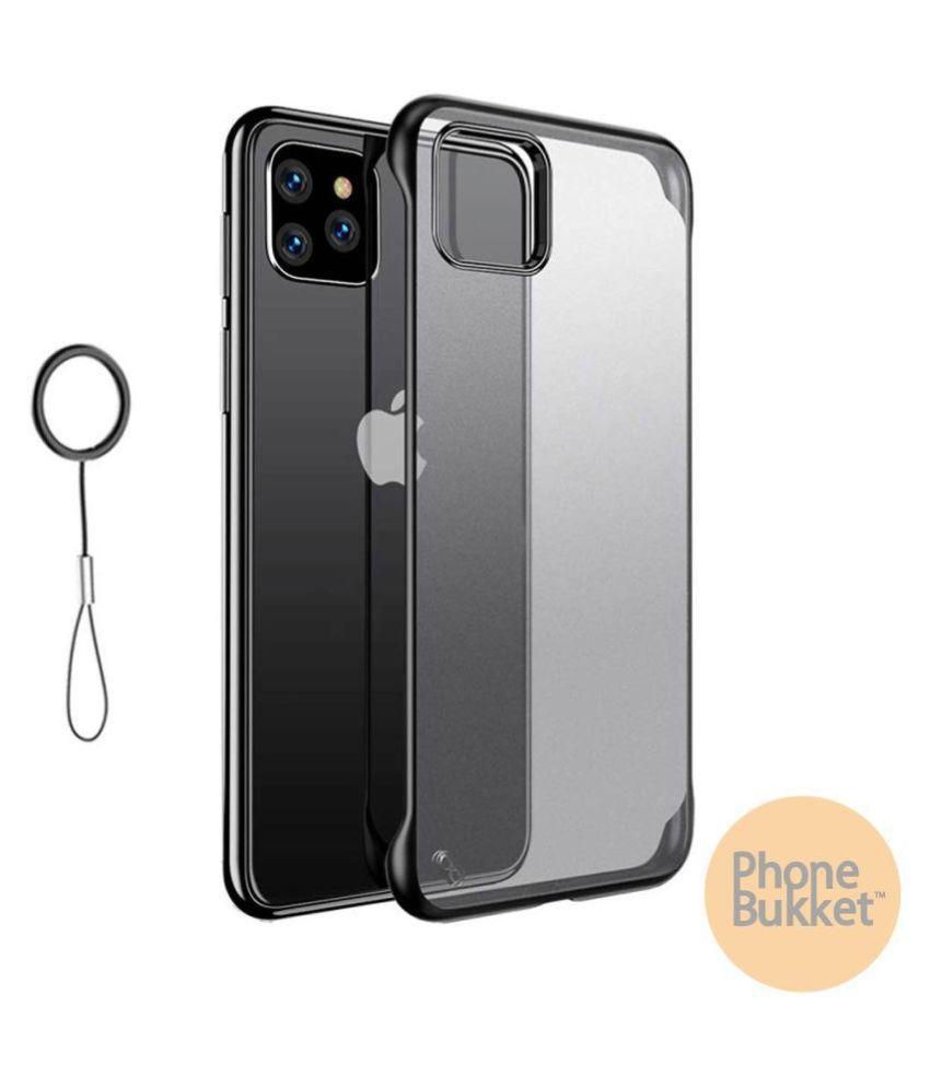 PhoneBukket UltraSlim Frameless Transparent TPU Hybrid Case for Apple iPhone 11 Pro (Black)