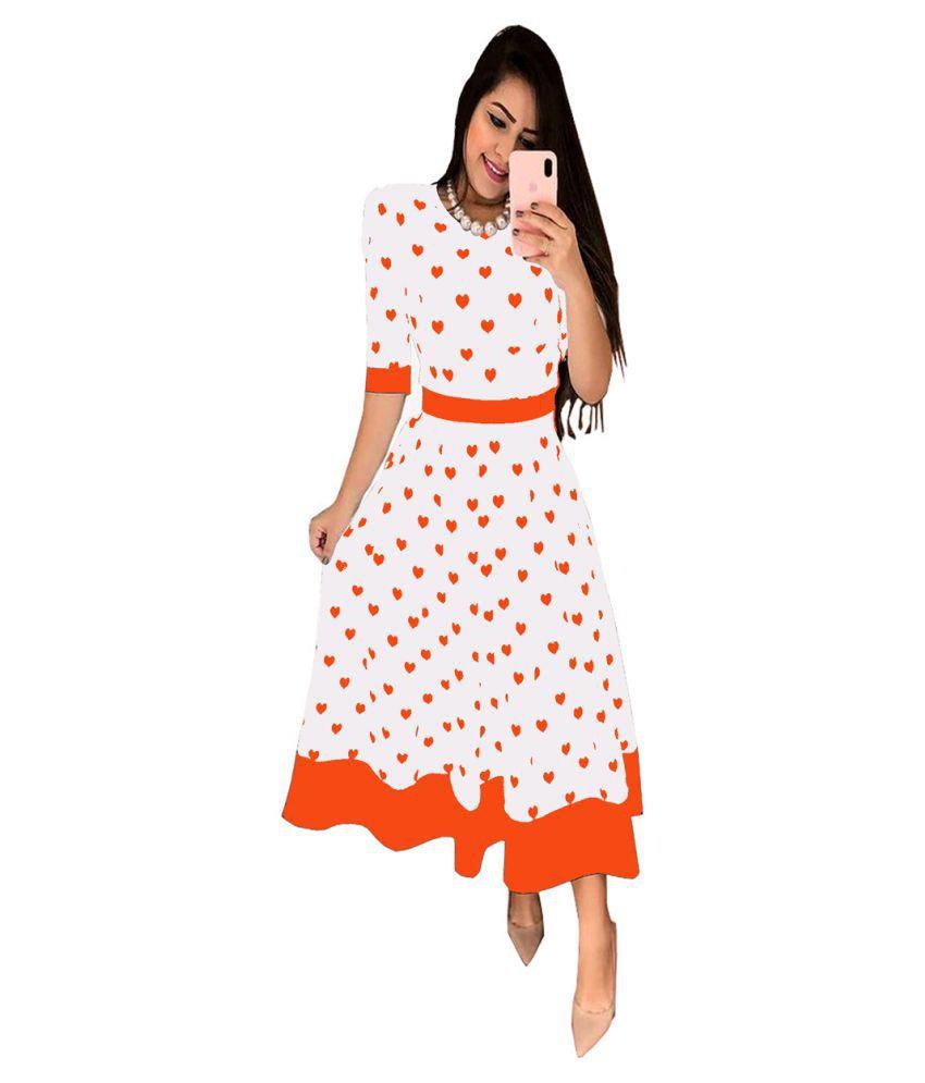 Ritsila Cotton Orange A- line Dress