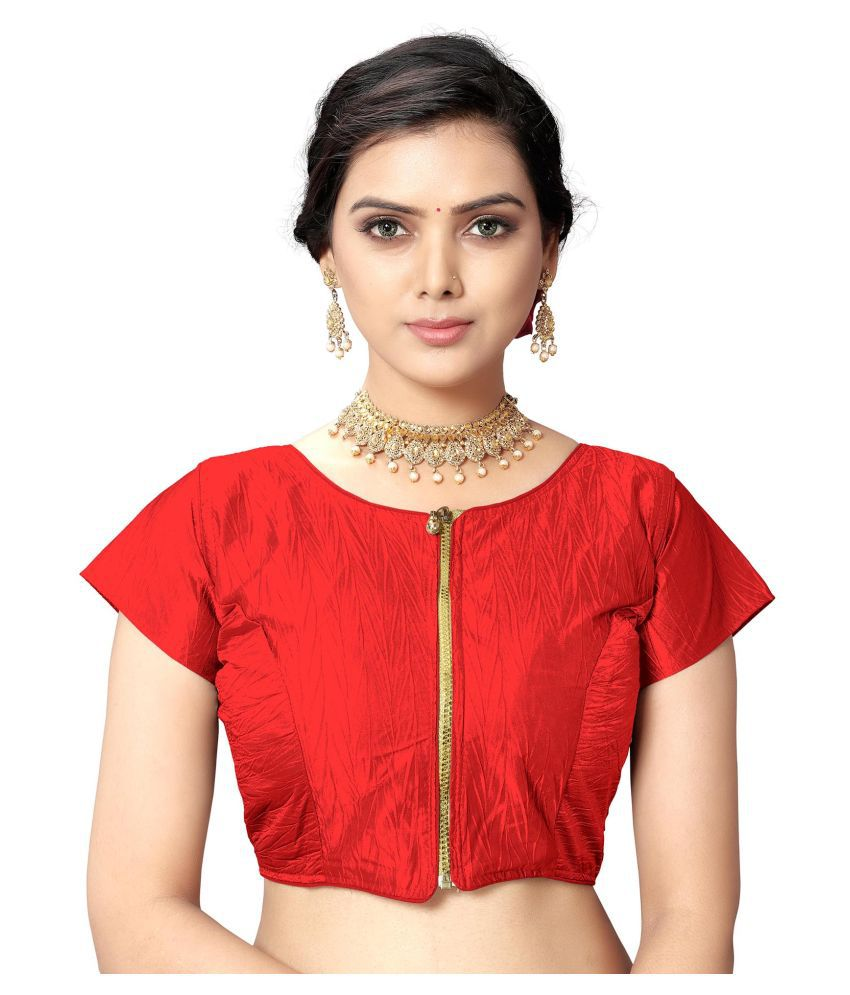 ANANT DESIGNER STUDIO Red Silk Readymade with Pad Blouse