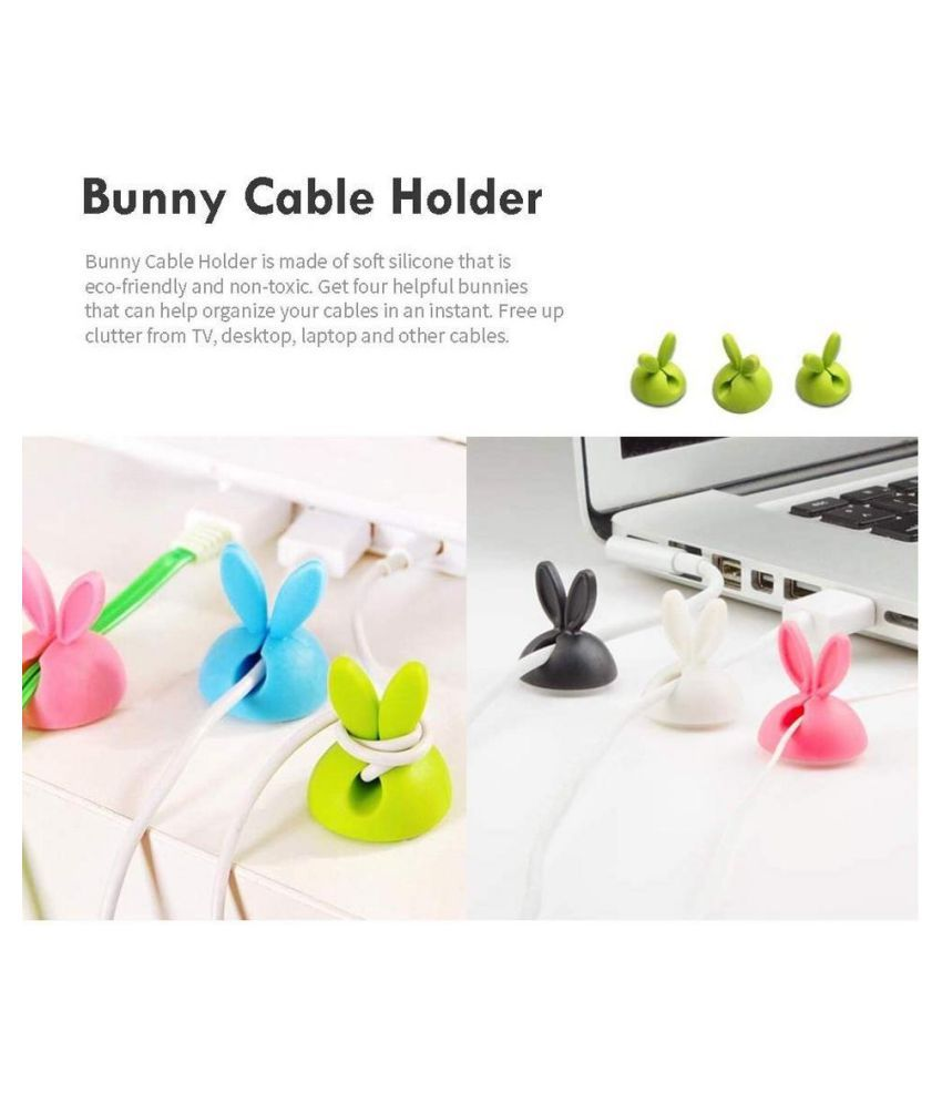 Multi color Long Lasting Cord Holder- Cute Rabbit (Pack of 20)