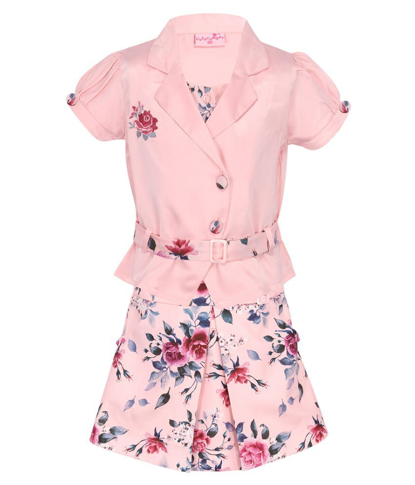 Partywear Solid Cap Sleeves Top With Floral Printed Skirt