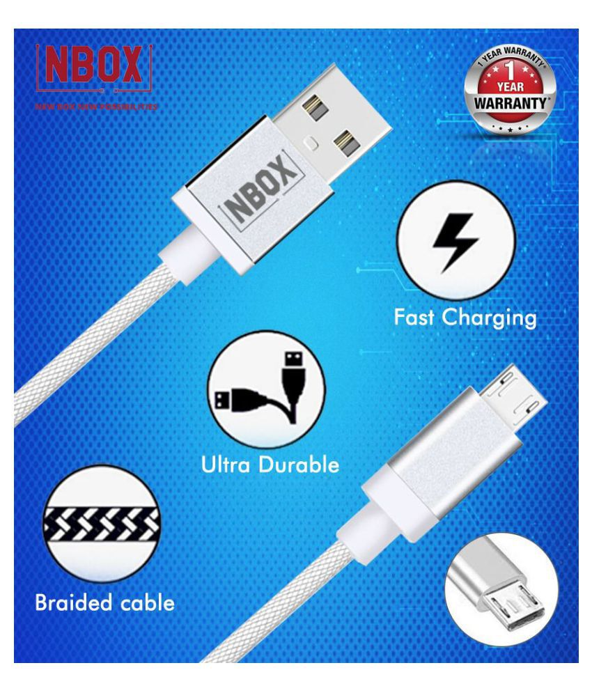 NBOX USB Data Cable White   1 Meter