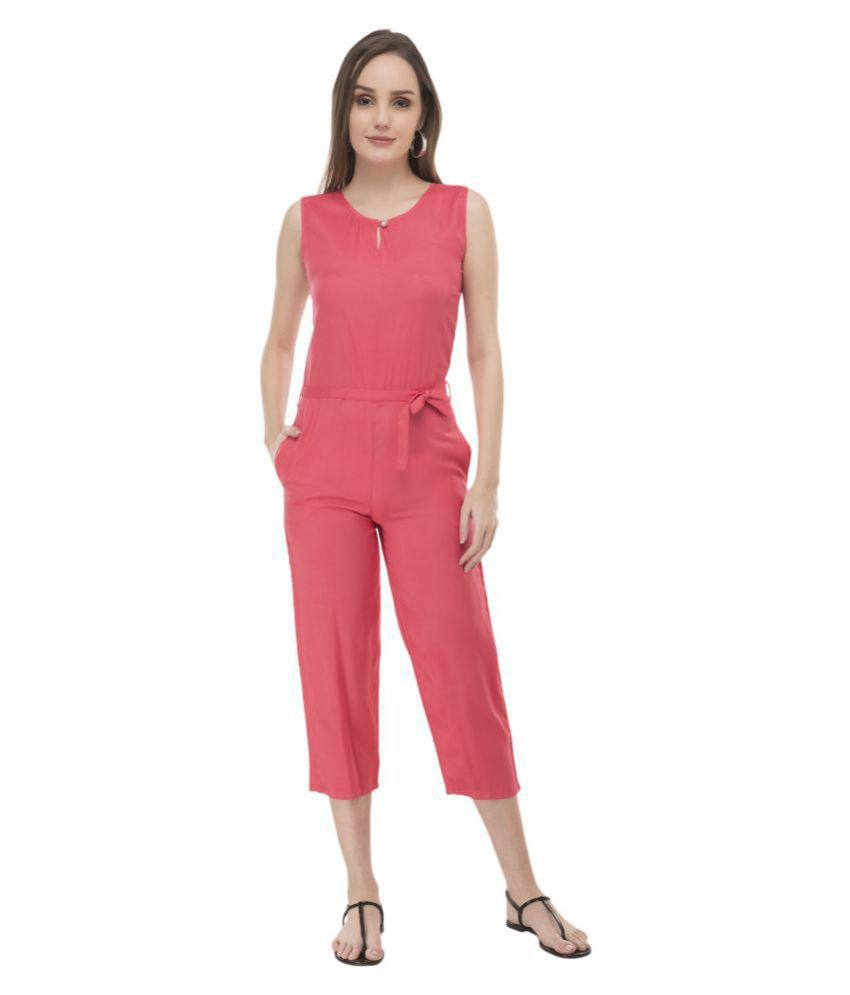 vipul fashion Pink Rayon Jumpsuit