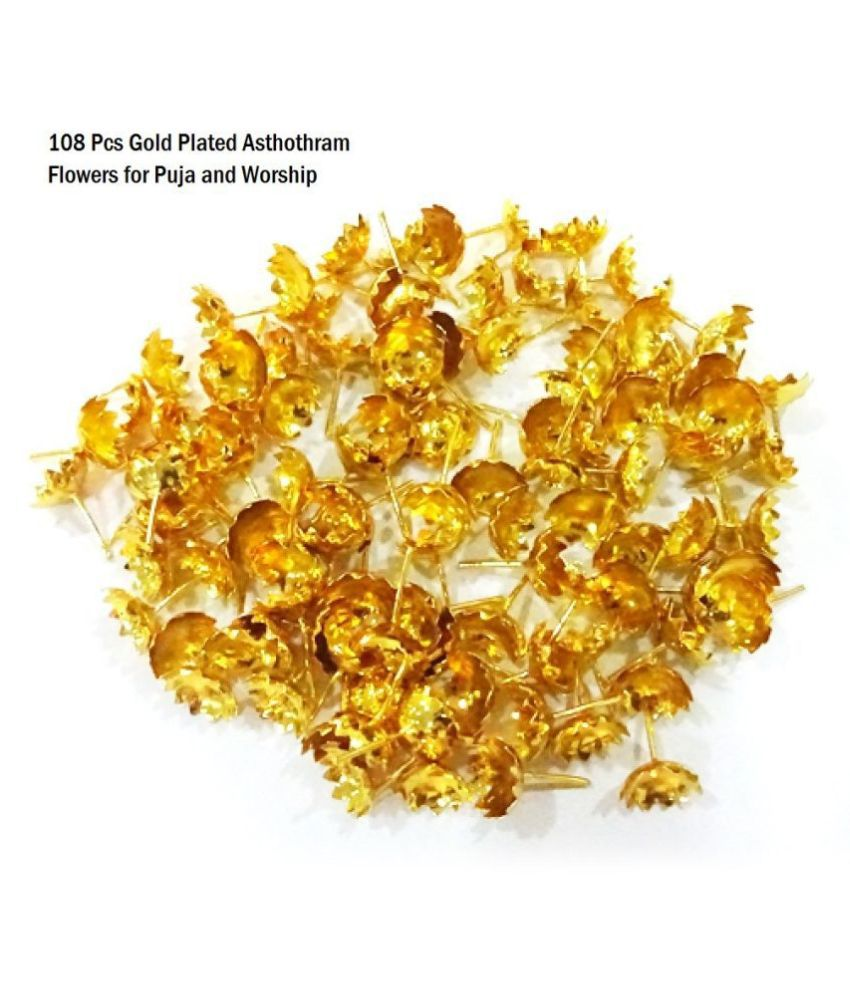 108 Pcs Gold Plated Flowers for Puja and other Worship occasions.