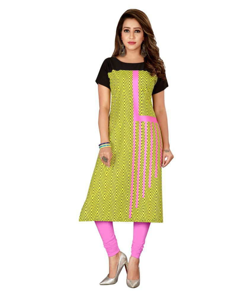 Fashion Hunt Multicoloured Crepe Straight Kurti