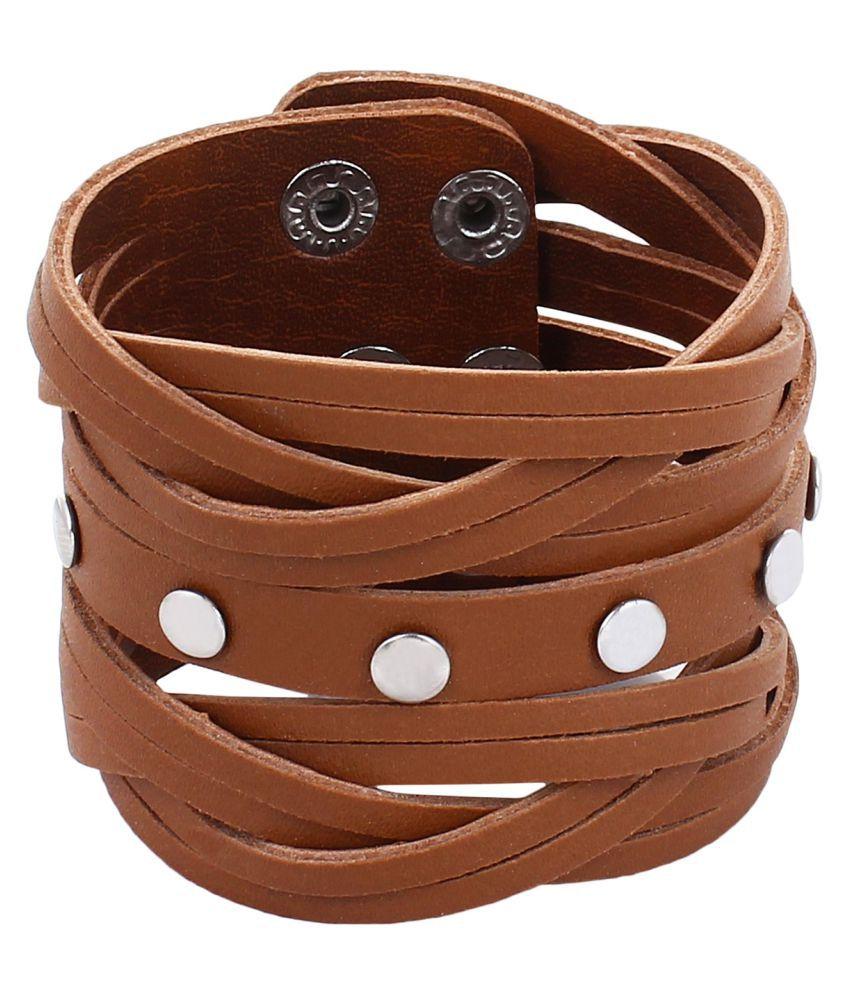 GoldNera Adjustable Smart Leatherite  Leather Bracelet for Brown Men & Boys