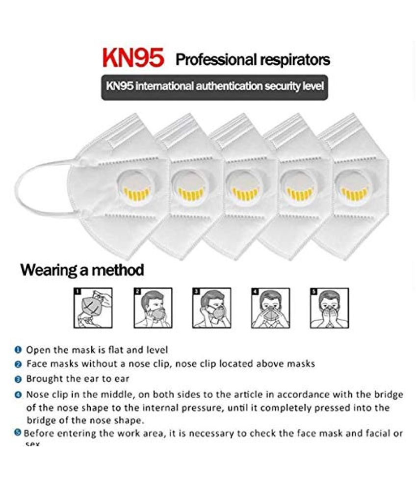 Fabsafe Face Mask KN95 (Pack of 6) with Nose Clip for Men & Women with 5 Layer Filter Protection