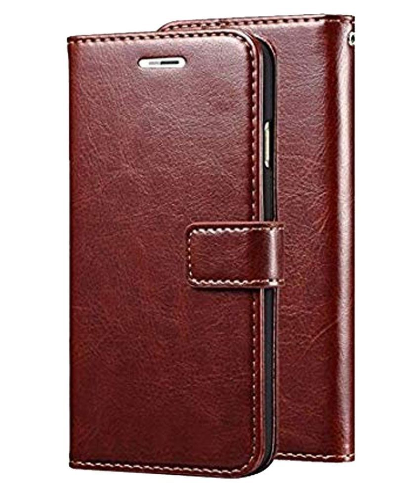 Moto E4 Plus Flip Cover by GoPerfect - Brown Brown Vintage Flip