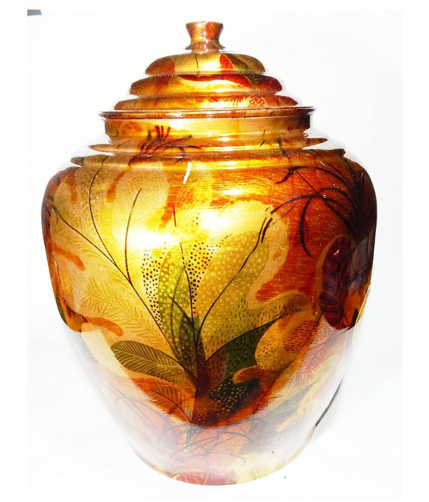 Urancia® Excellent Natural Copper Vessel Tank Flower Design Pure Copper Vessel Copper Tank Hammered Copper Water Dispenser Container Pot Matka, Storage Water With Tap Kitchenware, Yoga Drinkware & Serveware for water purification