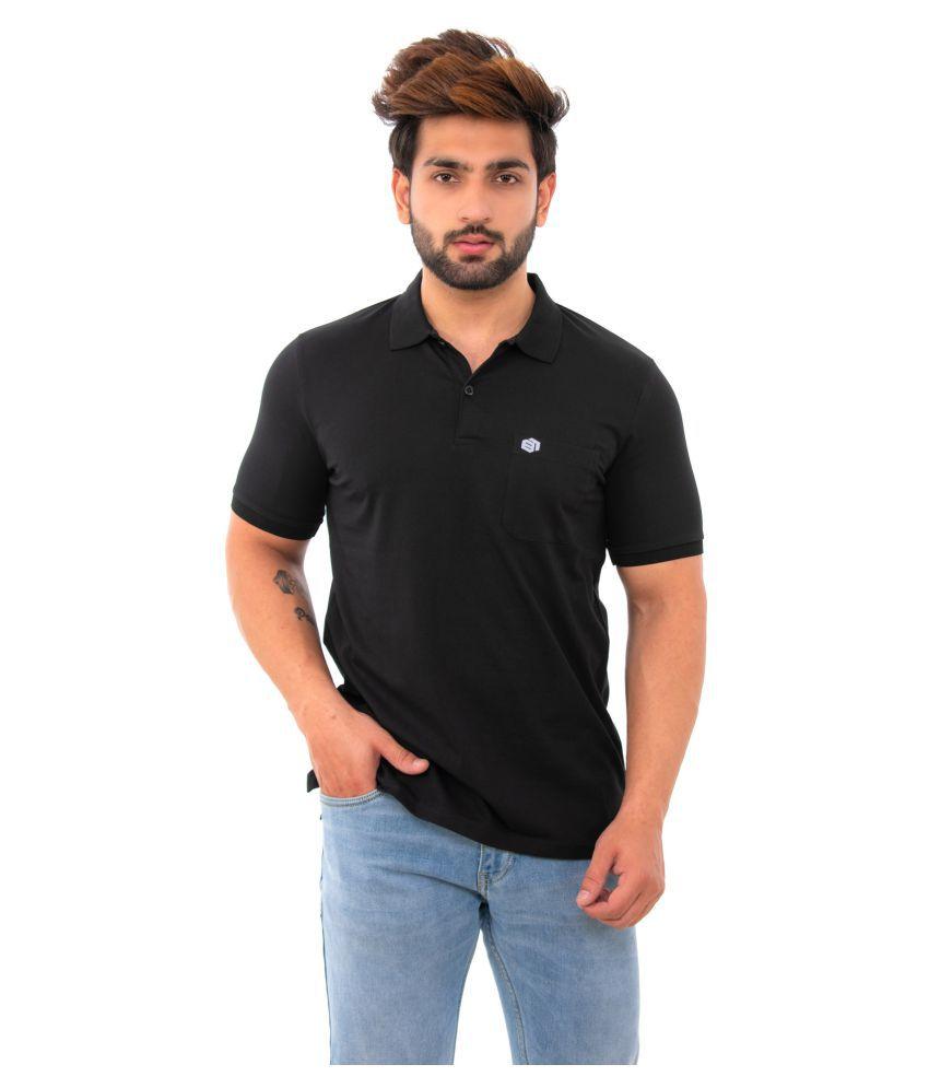 BISHOPCOTTON Cotton Lycra Black Plain Polo T Shirt