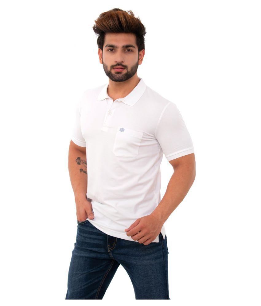 BISHOPCOTTON Cotton Lycra White Plain Polo T Shirt