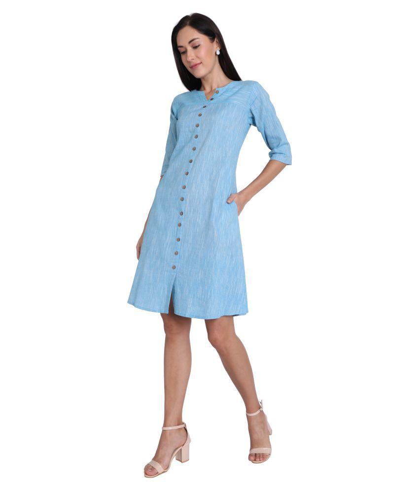 Leofab Cotton Blue Skater Dress
