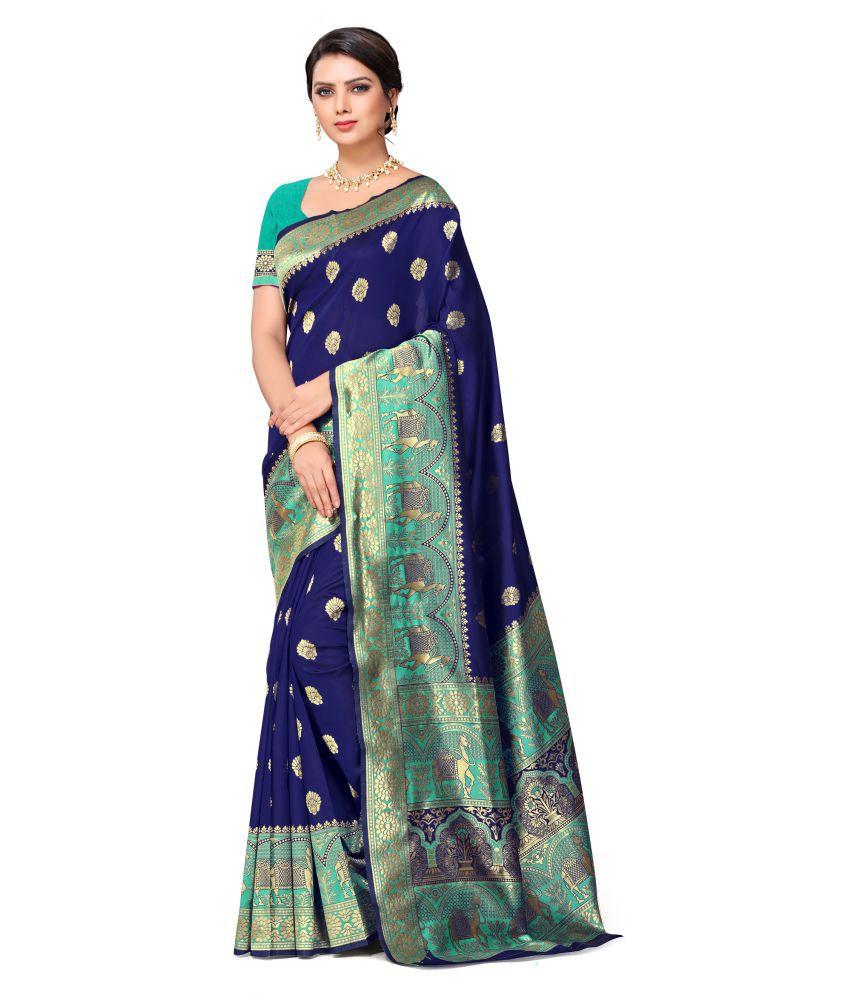 Chetna Creation Blue Banarasi Silk Saree