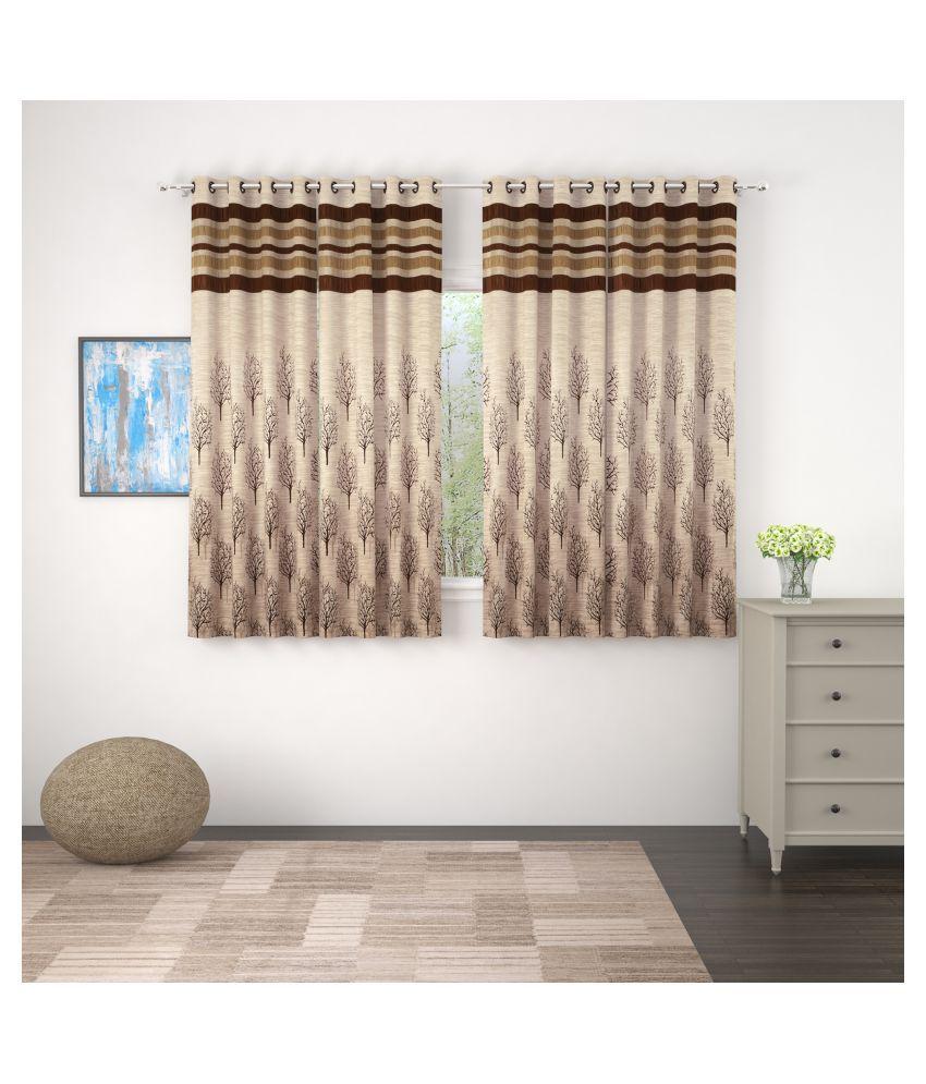 Story@Home Set of 4 Window Blackout Room Darkening Eyelet Jute Curtains Brown